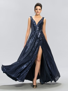 A Line V Neck Sequins Split Front Evening Dress
