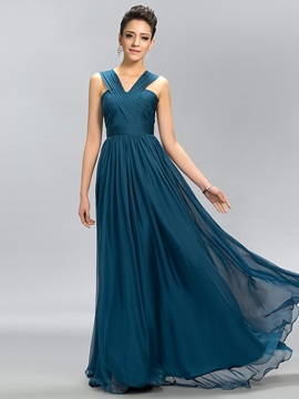 Simple V Neck Ruffles Floor Length A Line Chiffon Long Bridesmaid Dress