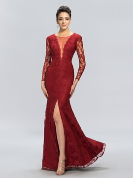 Deep V Neck Long Sleeves Lace Split Front Long Evening Dress Designed