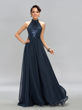 Superb A Line Halter Sequins Floor Length Evening Dress Designed