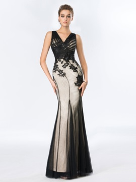 Elegant V Neck Sheath Appliques Beading Long Evening Dress
