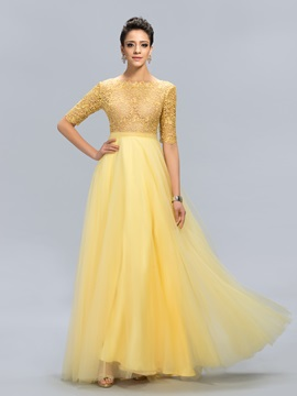Bateau Lace Long Evening Dress Designed