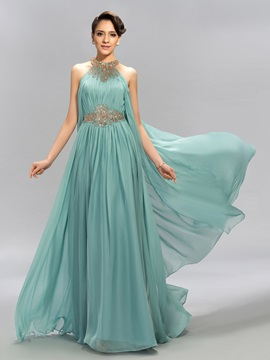 Jewel Beaded Ruffles Long Evening Dress