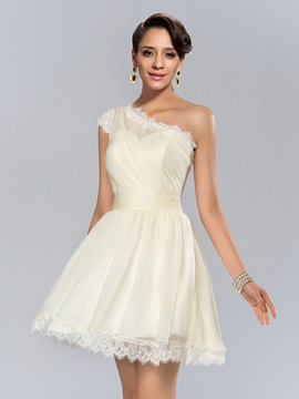 Modern One Shoulder Ruched Lace Short Cocktail Dress
