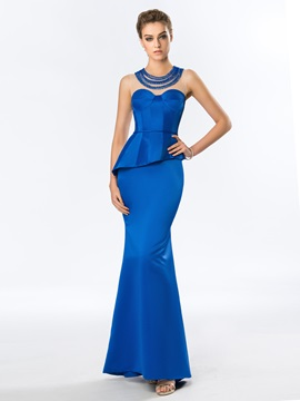 Elegant Jewel Neckline Beading Sheath Long Evening Dress