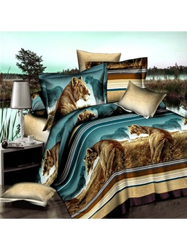 Grassland Scenery Printed 3d 4 Piece Bedding Set