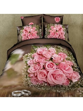 Nice Pink Rose With Couple Rings Printed Cotton 3d 4 Piece Duvet Cover Set