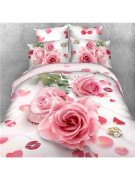 Top Quality Nice Pink Rose With Lips Printed Cotton 3d 4 Piece Duvet Cover Set