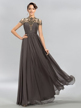 Dazzling High Neck Beading A Line Evening Dress Designed