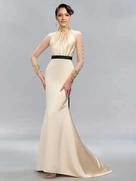 Ladylike High Neck Pearls Beading Long Sleeves Evening Dress Designed