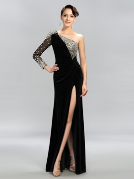 Classy One Shoulder Long Sleeves Split Front Long Evening Dress Designed