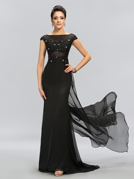Sheath Bateau Appliques Long Evening Dress