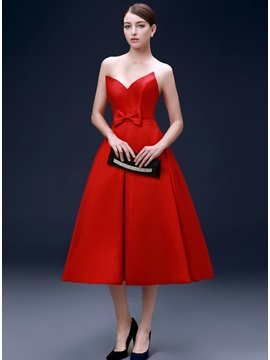 Modern Sweetheart Bowknot A Line Tea Length Evening Dress