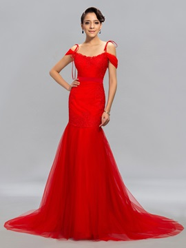 Trumpet Lace Appliques Long Evening Dress