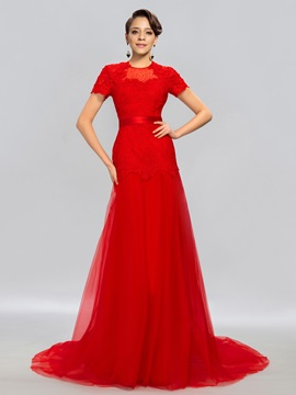 Elegant Jewel Neck Short Sleeves Lace Beaded Evening Dress Designed