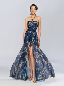 Eye Catching Column Sweetheart Printing Split Front Long Evening Dress
