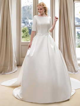 Modest Bateau Neck Short Sleeve Satin Ball Gown Wedding Dress With Watteau Train