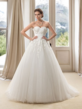 Strapless Sweetheart Lace Appliques Floor Length A Line Wedding Dress