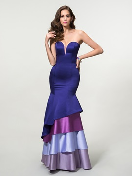 Elegant Mermaid Sweetheart Tiered Long Zipper Up Evening Dress