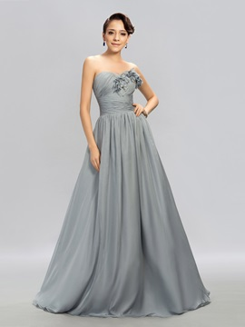 Elegant A Line Sweetheart Pleats Long Evening Dress Designed