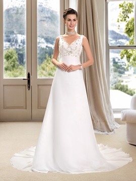 Beaded V Neck Floor Length A Line Wedding Dress