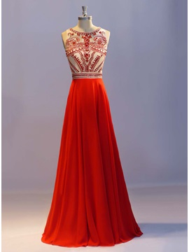 Luxurious Scoop Neck Beading A Line Long Prom Dress