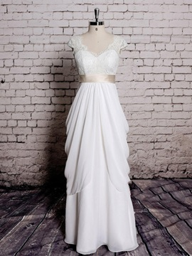 Cap Sleeve Sheath Lace Wedding Dress