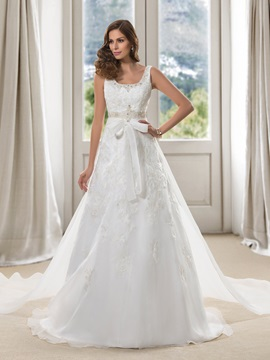 Dazzling Beaded Scoop Neck Floor Length A Line Wedding Dress