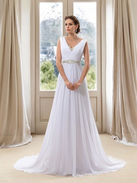 Simple Style Beaded V Neck White Chiffon Beach Wedding Dress