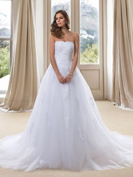 Strapless White Lace A Line Wedding Dress