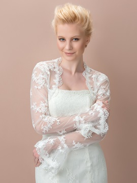 Eye Catching Lace Appliques Long Sleeves Wedding Jacket