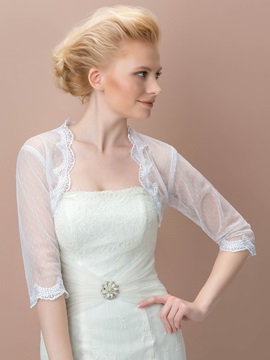 Half Sleeves Lace Appliques Wedding Jacket