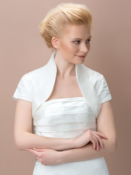 Cozy Short Sleeve Ivory Satin Wedding Jacket