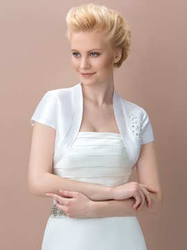 Short Sleeves Appliques Beading Wedding Jacket