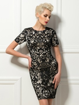 Column Lace Short Sleeves Short Formal Cocktail Dress