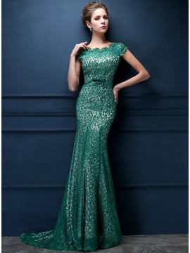 Vintage Bateau Neck Lace Beading Bowknot Floor Length Evening Dress