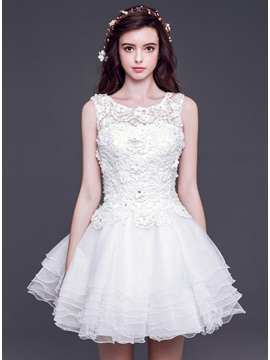 Dramatic A Line Bateau Neck Lace Tiered Short Sweet 16 Dress