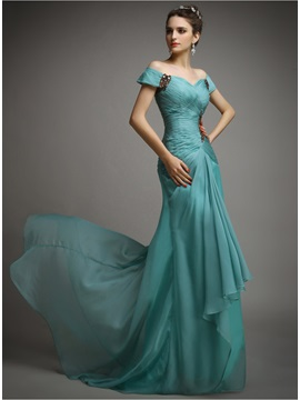 Elegant Off The Shoulder Beading Pleats Sweep Train Long Evening Dress