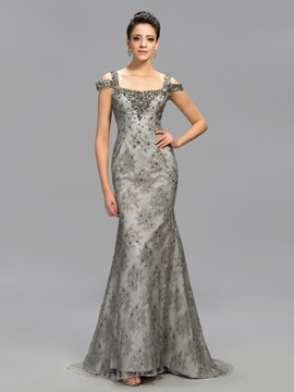 Elegant Square Neck Beading Sequins Long Evening Dress Designed