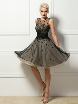 Tulle Neck Sequins Beading A Line Cocktail Dress
