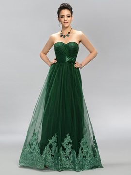 Sweetheart Appliques A Line Prom Dress Designed