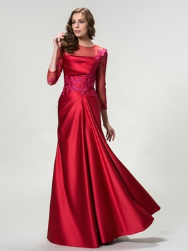 Elegant 3 4 Length Sleeves Appliques Floor Length Evening Dress Designed