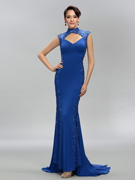 Dazzling High Neck Trumpet Lace Appliques Beading Backless Evening Dress
