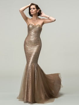 Luxury Mermaid Sweetheart Beading Sequins Long Evening Dress Designed