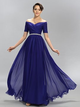 Eye Catching A Line Off The Shoulder Crystal Pleats Long Evening Dress Designed