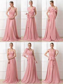 Simple Style Ruched Chiffon Long Convertible Bridesmaid Dress