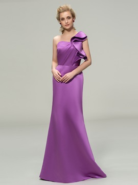 Sheath Ruffles One Shoulder Bridesmaid Dress