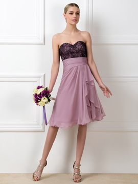 Lace Sweetheart A Line Short Bridesmaid Dress
