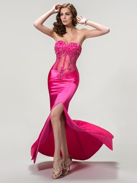 Sensual Sweetheart Appliques Beading Split Front Long Evening Dress