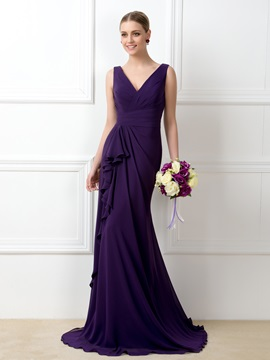V Neck Purple Mermaid Long Bridesmaid Dress